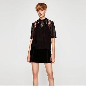 Zara high collar embroidered plumetis blouse